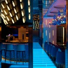 A half opened mirror door reflect the bar and divide the space intrestingly in Club 28 Bar, Crowne Plaza Hotel Causeway Bay